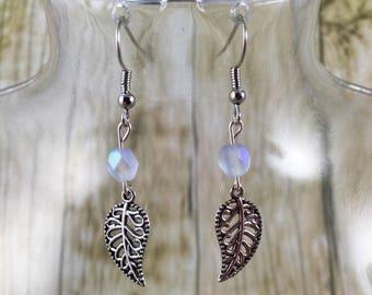 Beaded Leaf Earrings | White Earrings | Iridescent Earrings | Beaded Earrings | Leaf Jewelry | Gift for Her Under 25 Dollars | Gift for Mom