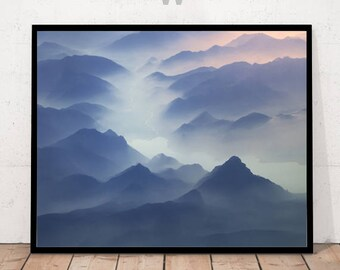 mountain print, landscape, photography print, landscape print, mountain river, mountain clouds