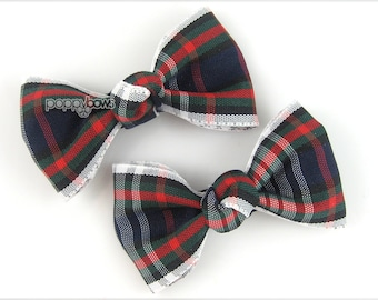 School plaid hair bows, tartan hair bows, plaid hair clips, barrette girls , navy green red pigtail bows school uniform pair ap-2-whtedg-pl