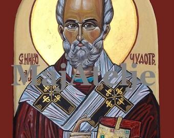 Saint Nicolas, Handpainted, Orthodox byzantine icon, Art for digital download, Printable