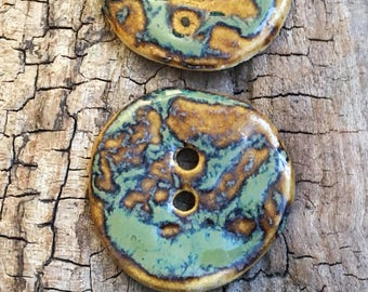 XL pottery buttons mottled  green 2inch approx stoneware ( MIx 12 )