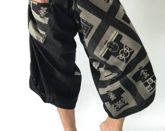 SR0179 Samurai Pants Harem Have Fisherman Style Wrap Around Waist