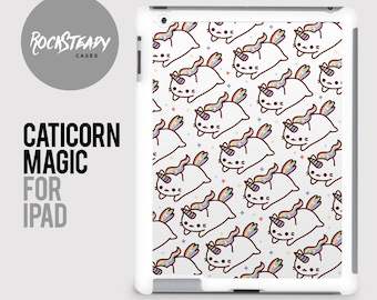 Caticorn Cat Unicorn iPad case, iPad 2, 3, 4 case, iPad Mini case, iPad Air case, Hard plastic snap on iPad cover, shell, catacorn kawaii