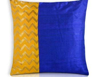 Blue and Yellow Color Block Raw Silk Pillow Cover - Chevron Yellow Gold and Blue Silk Cushion Cover - Decorative Throw Pillow