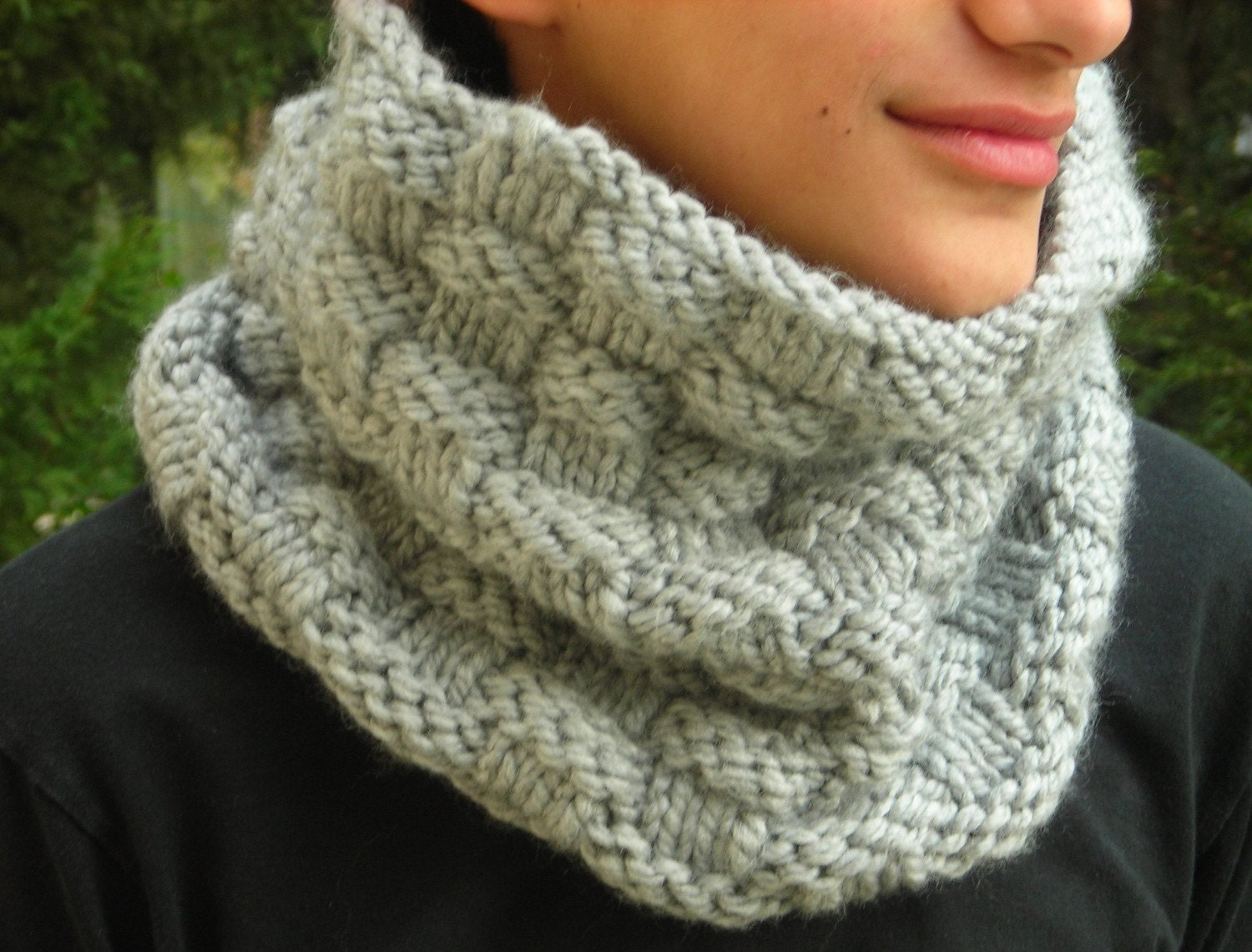 Dolphin Grey bulky knit cowl hand knitted neck warmer