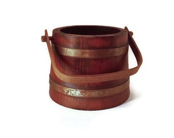 Wooden Bucket with Handle  Vintage Handcrafted