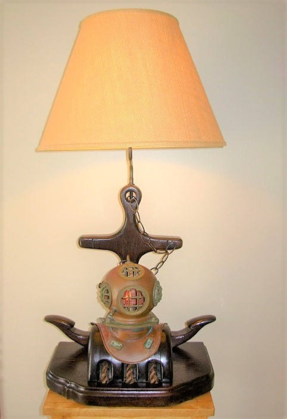 Vintage Wooden Anchor Lamp With Pulley U0026 Diving Helmet