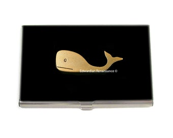 Gold Whale Business Card Case Inlaid in Hand Painted Black Enamel Nautical Inspired Metal Wallet with Personalized and Color Options