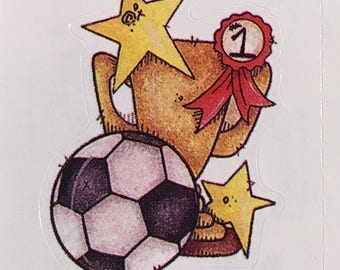 Soccer ball with trophy and ribbon sticker, Provo Craft 1997