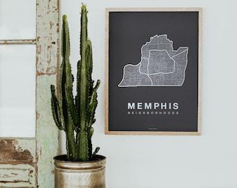 MEMPHIS Map. Screen Print Poster. Neighborhood Map. Modern Home Decor Print. Memphis Tennessee Art Poster. Multiple Colors.
