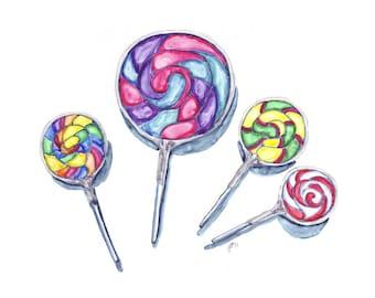Watercolor Painting - Swirl Lollipops Watercolor Art Print, 5x7