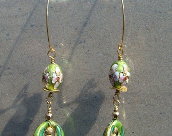Lime Pink and White Flower Cloisonne Earrings