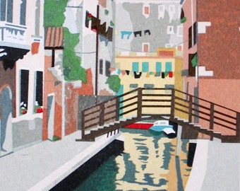 In Venice- Laundry Day, limited edition serigraph
