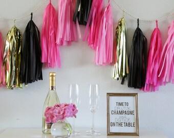 BACHELORETTE tassel garland party decoration //  bachelorette party
