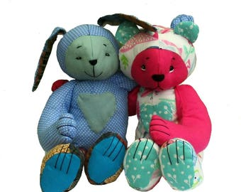 Memory keepsake or babys first teddy bear and rabbit soft toy digital sewing pattern.