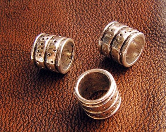 8 pearls from tube for round leather or cord, antique silver