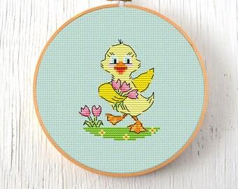 PDF Pattern - Happy Go Duckie Cross Stitch Pattern, Retro Easter Cross Stitch Pattern, Kitschy Spring Duck Cross Stitch Pattern