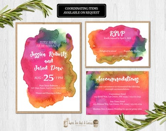 Vibrant Watercolor Wedding Invitation Suite Rainbow Set with RSVP card and Accommodations Card Digital File or Printed Invitations Modern