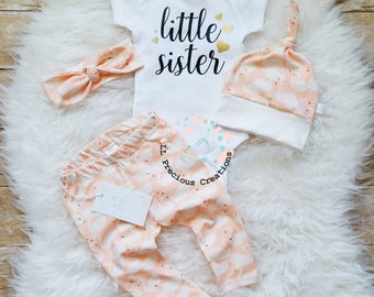 Organic Baby Girl Outfit Little Sister Outfit Newborn Baby Girl Outfit  Photo Prop Coming Home Outfit Baby Shower Gift New Baby Gift