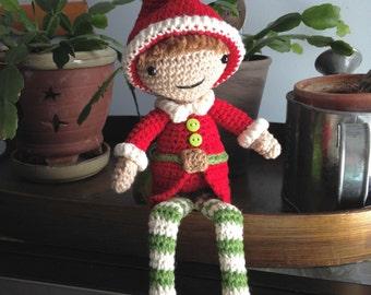 Santa's Little Helper, Christmas Elf Amigurumi - MADE to order- stocking stuffer, keepsake