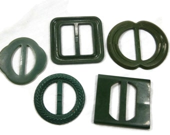 Five Green Early Plastic Belt Buckles,  Assortment of Dress Buckles, Slide Buckles, Dressmakers Buckles, Assemblage Supply, 1930s, 1940s