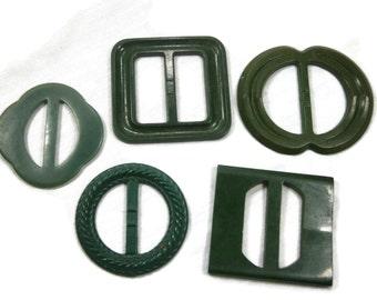 Five Green Early Plastic Belt Buckles,  Assortment of Dress Buckles, Slide Buckles, Dressmakers Buckles, Assemblage Supply, 1930s, 1940s