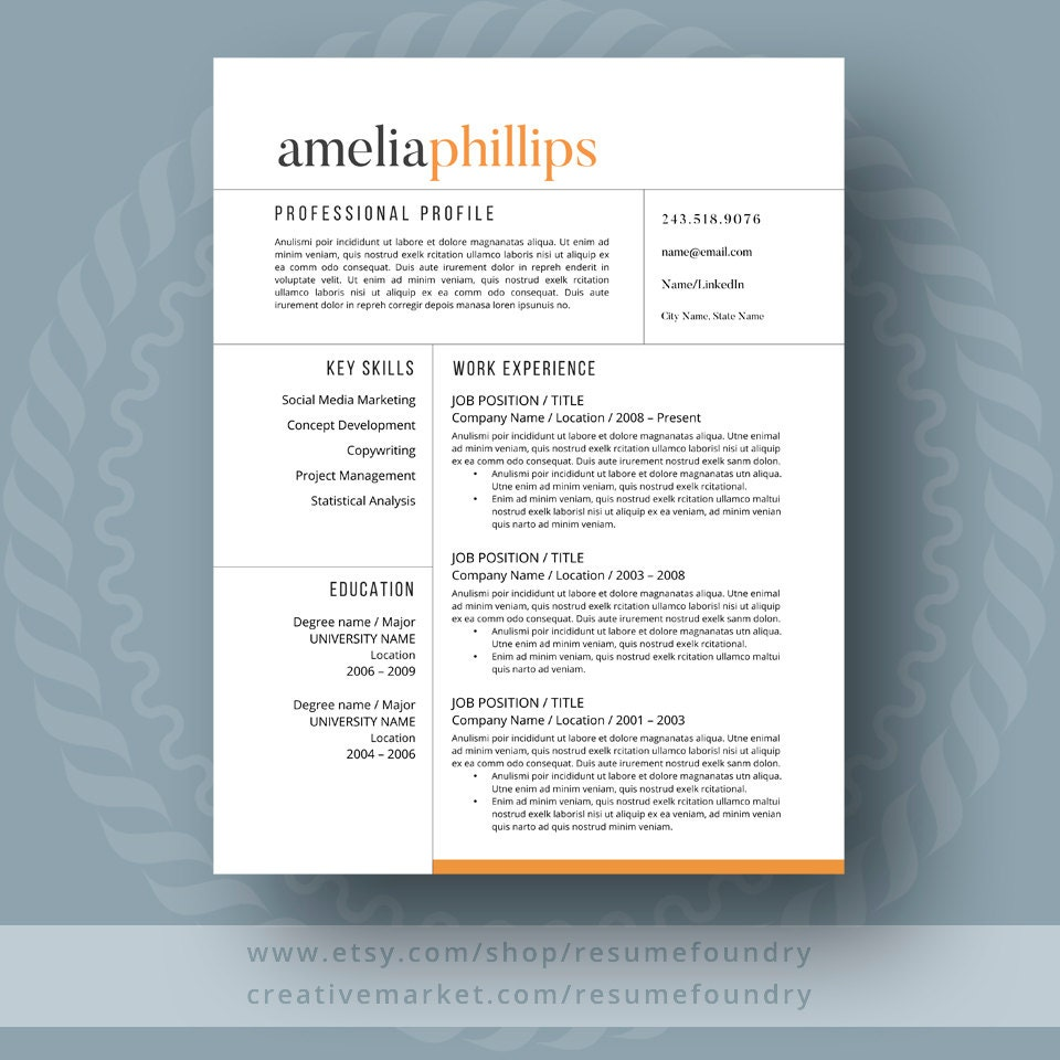 resume templates modern modern resume template for word 1 3 page resume cover 24466 | il fullxfull.1081927264 5g39