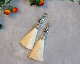 Earrings tassels viscose with abalone