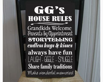 GG's House Rules for Grandchildren with love Grandmother  Handpainted Wood Sign 16 x 10.5