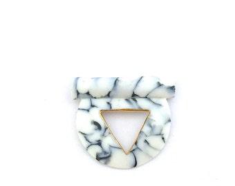 Marble porcelain pendant, minimalist ceramic pendant, marble gold ceramic necklace, marble necklace, white gold marble pendant, OeiCeramics