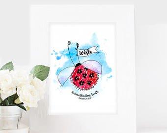 Personalized LADYBUG Nursery Art Print, Girl's Room Decor, Baby Art Print, Wall Decor