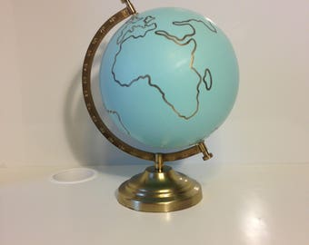 """The Minimalist Continent Globe: MADE TO ORDER, handpainted globe, wedding guest book, home decor (12"""")"""