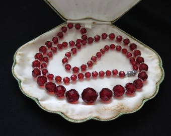 Vintage Long Red Crystal Glass Necklace Art Deco