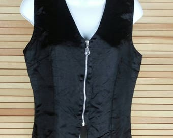 Black Goth vest waistcoat with zipper top size S small chest 36