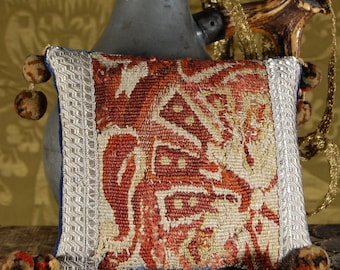 Antique tapestry pincushion, small cushion, ring bearer pillow