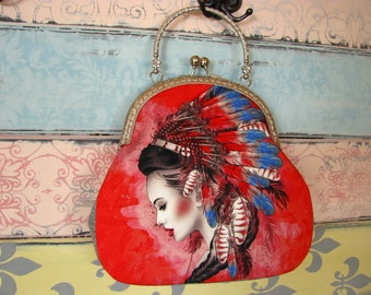 Vintage evening clutch purse with lady in native headdress, kiss lock purse, metal frame purse, purse with handle