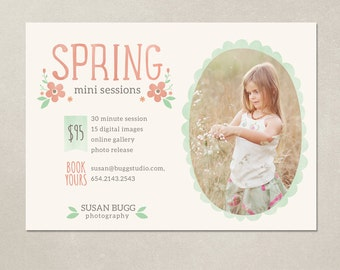 Mini Session Photography Marketing board - Spring Minis MS003 - Photoshop template INSTANT DOWNLOAD