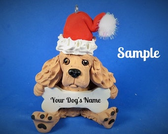 Golden Cocker Spaniel Santa Dog Christmas Holidays Bone Ornament Sally's Bits of Clay PERSONALIZED FREE with dog's name