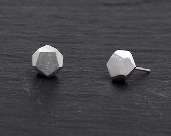 Sterling Silver Little Geometric Pebble Hexagon Pentagon Stud Earrings, Cute, Minimalist Textured Finish  H30