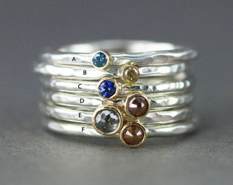 Diamond or Sapphire Stack Ring - 18k Gold and Sterling Ring - Raw Rose Cut Diamond Ring