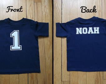 Personalized T-shirt or a onesie with a name and number,age of your child, front and back design