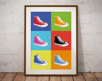 Warhol Art Print, Warhol Poster, Pop Art Print, Pop Art Poster, Modern Art, Minimalist Wall Art, Andy Warhol Style Print, Boots Wall Art