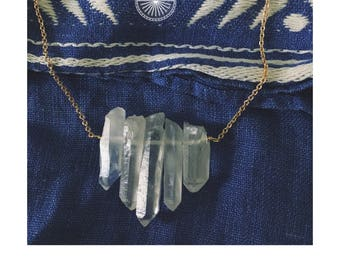 Quartz Bar Necklace — clear crystal quartz boho teeth tooth later gradual point spear trendy minimalist nashville gypsy