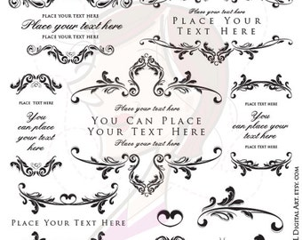 Vintage Floral Border Clipart - with decorative Design Elements, superb to DIY Victorian Wedding, or for Business - COMMERCIAL USE 10022