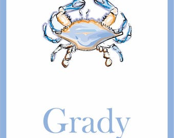 Personalized crab enclousure cards for boys
