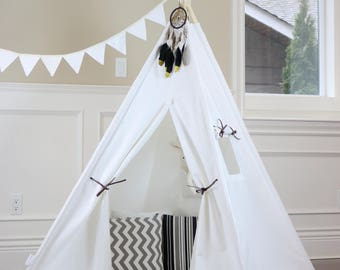 Plain Canvas Teepee Package with Poles, Floor, Pocket,LED Light and Storage Bag, Kids Teepee,Play Tent, Tipi, Playhouse, Kids Room Decor