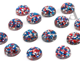 Red, White & Blue Confetti Glitter 12mm Domed Flatback Cabochons for Embellishments... Glitter Cabochon... Patriotic Cabochon...