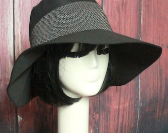 Black Wide Brim Hat, Sun Hat, Floppy Hat, Black Cotton Hat, boho hat, travel hat, Patchwork Hat
