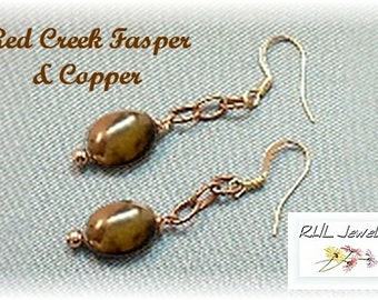 Red Creek Jasper Earrings, Copper Earrings, Modern Jewelry, Gifts for Women - E2017-02