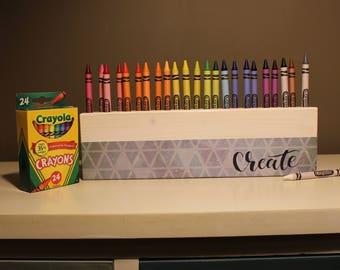 Crayon Holder (White) - Crayons - Pencils -  Storage - Organization - Wood